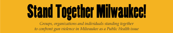 "Stand Together Milwaukee Banner. The subtitle reads: ""Groups, organizations and individuals standing together to confront gun violence in Milwaukee as a Public Health issue."""