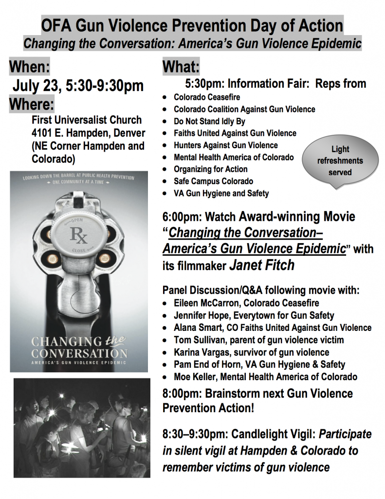Information Fair, Screening and Community Conversation to be held at First Universalist Church 4101 E. Hampden, Denver (NE Corner Hampden and Colorado) July 23, 5:30-9:30pm